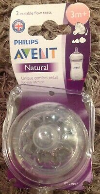 BNWT Philips Avent Variable Flow Natural Teats 3 months+ Pack of 2