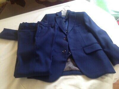 Stunning Boys Age 7-8 Paisley Of London 4 Piece Navy Suit With Tie