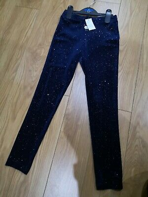 Brand New Girls Navy Sparkle Trousers Age 7