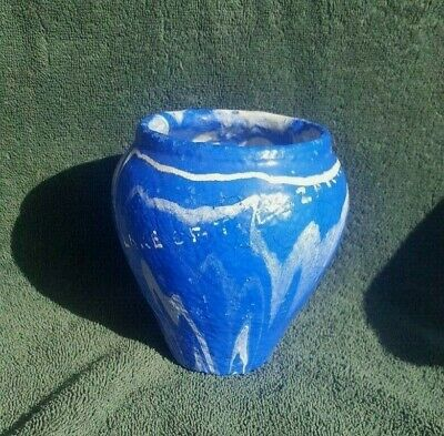 Vintage Ozark Roadside Tourist Folk Art Pottery Blue & White 5 Inch