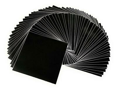 """50 Matte Black Vinyl Sheets, Self Adhesive, 12""""x 12"""" for Silhouette Cameo Cutter"""