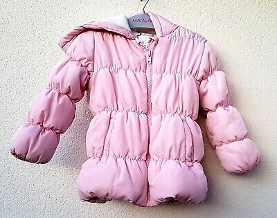 Girls Clothes Age 2-3 Yrs Matalan Warm Winter Pink Padded Jacket/Coat With Hood
