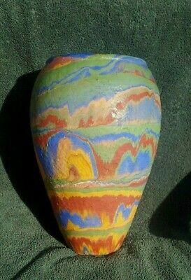 Vintage Ozark Roadside Tourist Folk Art Pottery 10 Inch Multi Colored Vase