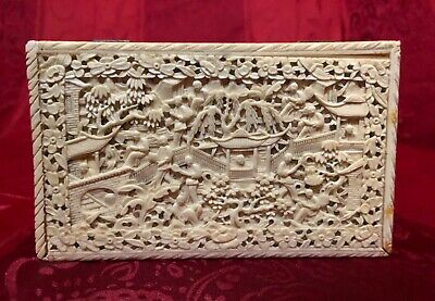 BEAUTIFUL CHINESE CARVED CANTON JEWELLERY BOX QING IMPERIAL 19th CENTURY