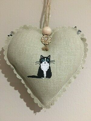 Sophie Allport Handmade Fabric Black And White Cat Heart Decoration