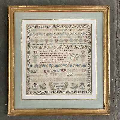 GORGEOUS! 1817 Signed Antique DUTCH Silk Linen Cross Stitch Needlework Sampler