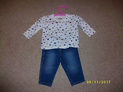 Girls Blue and White Outfit Age 3-6 Months from F & F and Next