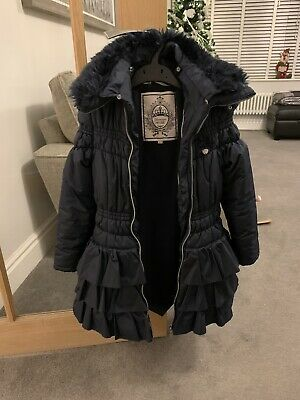 size 140 girls age 8-10 navy blue ruffle zip up hooded coat LE CHIC designer VGC