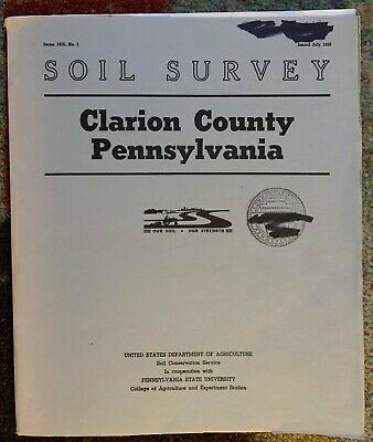 SOIL SURVEY Clarion County Pennsylvania PA Book 50 Maps Color Fold Out Geology