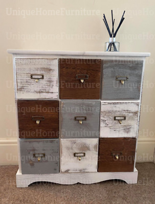 Vintage Chest Drawers Shabby Chic Sideboard Rustic Storage Apothecary Cabinet