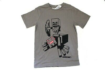 Offiical Licensed Boys Minecraft Slate Grey T-shirt Top Age 7-16 Years Creeper