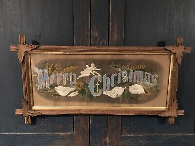 "ANTIQUE Punched Paper Motto Sampler ""MERRY CHRISTMAS"" c.1880 ~ RAREST MOTO HTF"