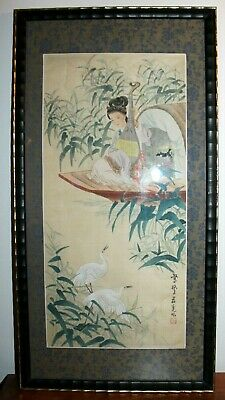 Antique Japanese Scroll Painting Geisha on Riverboat Red Seal