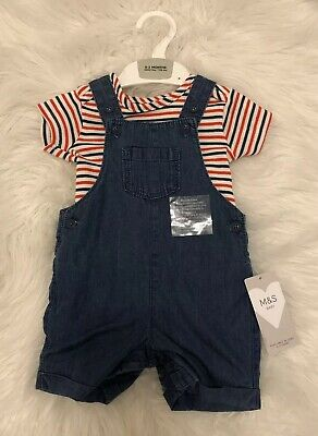 Baby Boys Denim Short Dungaree With Red & Cream Stripe Vest 0-3 Marks & Spencer