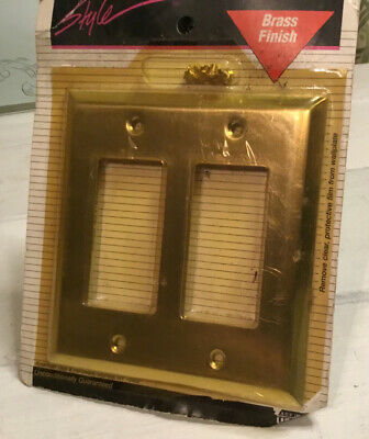 BRASS FINISH DOUBLE TOGGLE SWITCH 2-Gang USA WALL PLATE 1990s Vintage NOS