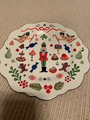 Anthropologie Rifle Paper Co Nutcracker Suite Soldier Dessert Plate Christmas NW