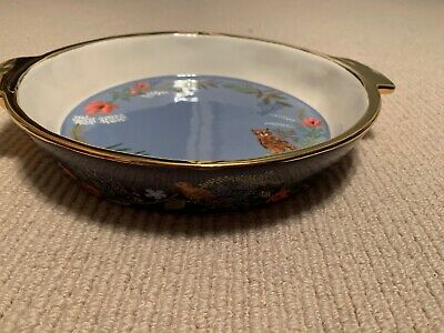 Anthropologie Rifle Paper Co Winter Floral Pie Plate Dish Gold Christmas NEW
