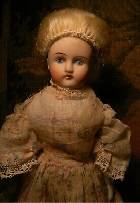 Antique Wigged Parian Dollhouse Girl, Antique Gown!  No Cracks