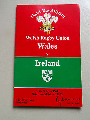 Rugby Union Programme Wales V Ireland-Arms Park 1983 ^