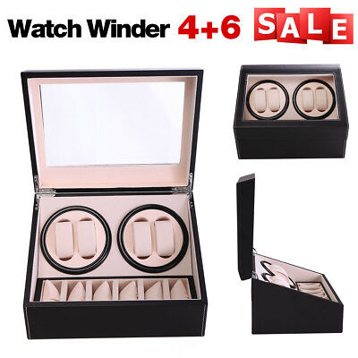 4+6 Automatic Rotation Leather Wood Watch Winder Storage Display Case Box Black