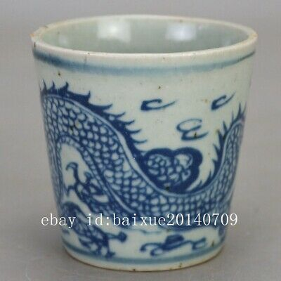 Chinea hand-carved porcelain Blue and white dragon pattern Kung fu tea cup b01