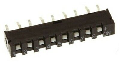 Apem SIP SWITCHES 20-Pieces 10mA 8-Way SPST, PCB Mounting, Slide Actuator