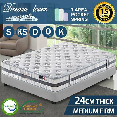 QUEEN KING SINGLE DOUBLE DREAM LOVER Bedding Mattress Bed Spring Pocket Foam