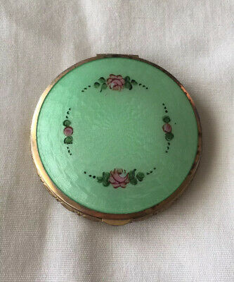 Antique La Mode Green + Rose Pattern Guilloche Enamel Compact w/ Powder & Rouge