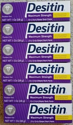 (6) Desitin Baby Diaper Rash Paste Maximum Strength, 1 oz Each Expire 07/2020