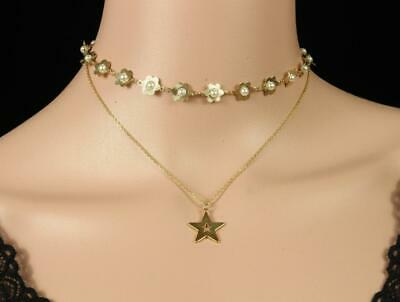 White Imitation Pearl Flower Star Pendant Gold Plt 2 Layers Chain Necklace A992