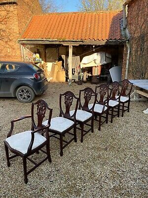A Good Set Of Six Vintage Dining Chairs (2 Carvers And 4 Singles}