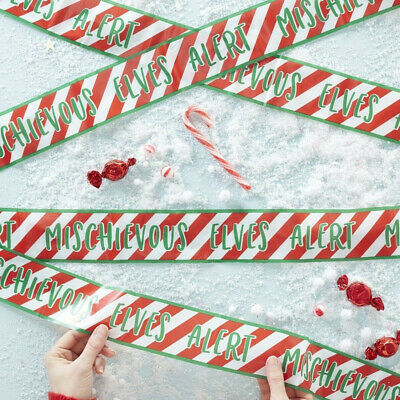 CHRISTMAS ELF CAUTION TAPE - 'Mischievous Elves Alert'  Xmas Advent Shelf Idea