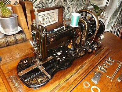Antique Fiddle Base Hand Crank Gritzner Sewing Machine Working mother of pearl