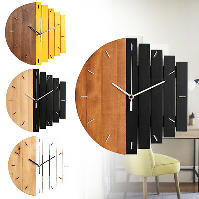 Large Wall Clock Modern Vintage Rustic Wooden Home Office Kitchen Decoration