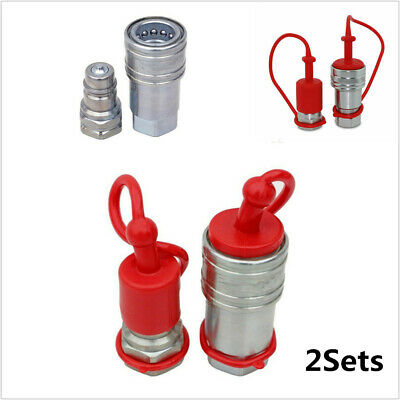 "2Sets 1/2"" NPT Thread 1/2"" Ag Push/Pull Hydraulic Quick Connect Coupler Poppet"