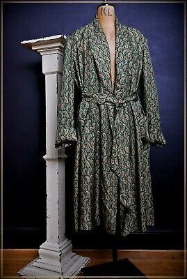 Mens Vintage Original 1950's CELANESE dressing gown Paisley smoking jacket robe