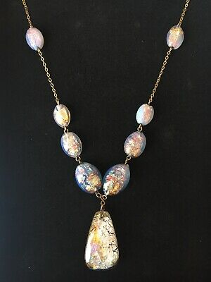 Antique Bohemian Art Deco Opalescent Opal Glass Foil Bead Rolled Gold Necklace