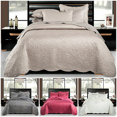Luxury Embroidered Quilted Bedspread Bed Throw Double King Size Bedding Set