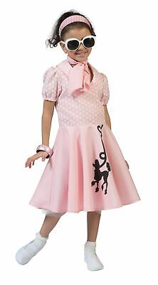 Girls Childrens 1950s Pink Poodle Rock N Roll Bop Fancy Dress Costume Book Day