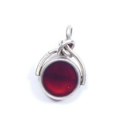 Antique Victorian Silver Spinner Fob Carnelian & Bloodstone 1886 HM 8.6g