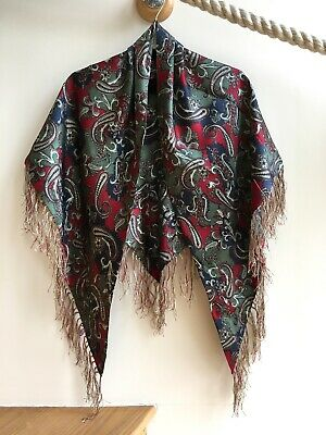 Vintage SILK Triangular Scarf/Shawl