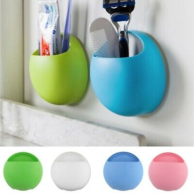 Home Bathroom Toothbrush Holder Wall Mount Suction Cup Toothpaste Storage Racks