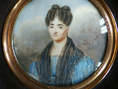 SUPERB & LARGE ANTIQUE EARLY 19th CENTURY LADY MINIATURE PORTRAIT 1830's