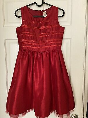 Girls Red Christmas Holiday Party Dress Sequins Tulle Gymboree Size 12
