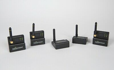 RadioPopper PX Transmitters, Qty 2 with RadioPopper PX Receivers, Qty 3, VG Cond