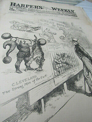 1888 Harpers Weekly JUNE 16 ORIGINAL  ISSUE A STRONG COMBINATION SATEN ISLAND