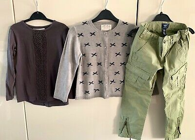 girls clothes bundle age 4-5 years. Never Worn Gap Trousers & Zara Cardy. & Top