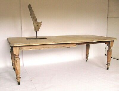 Lovely Very Large Antique 19th century Solid Oak Wind Out Extending Dining Table