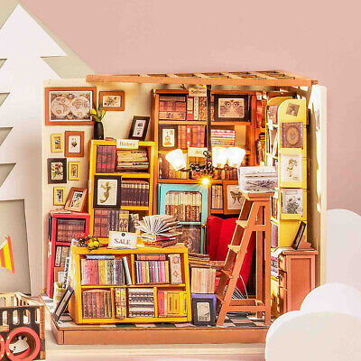 ROBOTIME DIY Dollhouse Library Miniature Book Store Kits Wooden Gift for Girl