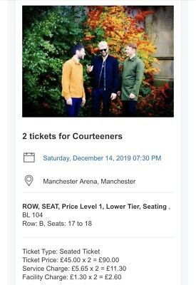 2 x Courteeners tickets Saturday 14th December